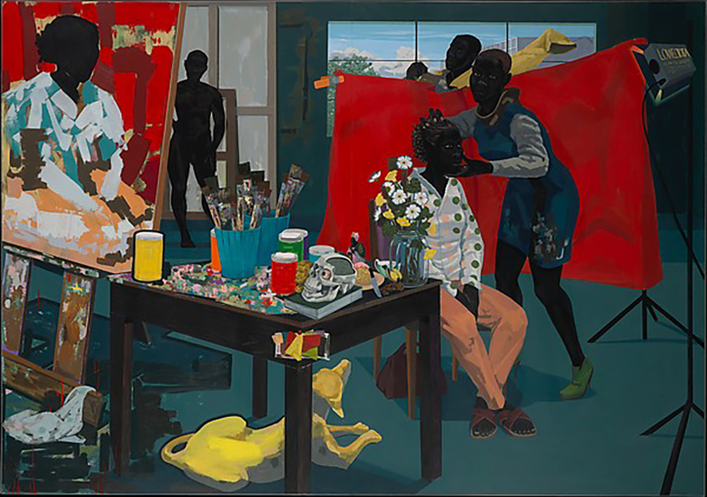 Untitled (Studio) Artist:Kerry James Marshall (American, born Birmingham, Alabama 1955) Date:2014 Medium:Acrylic on PVC panels Dimensions:83 5/16 × 119 1/4 in . (211.6 × 302.9 cm) Classification:Paintings Credit Line:Purchase, The Jacques and Natasha Gelman Foundation Gift, Acquisitions Fund and The Metropolitan Museum of Art Multicultural Audience Development Initiative Gift, 2015 Accession Number: 2015.366 © Kerry James Marshall