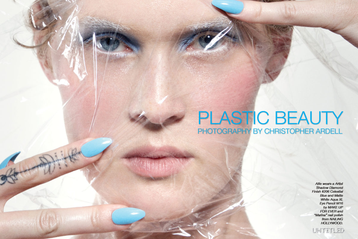 "Plastic Beauty photographed by Christopher Ardell for The Untitled Magazine.Allie wears a Artist Shadow Diamond Finish #206 Celestial Blue and Matte White Aqua XL Eye Pencil M16 by MAKE UP FOR EVER and ""Marina"" nail polish from NAILING HOLLYWOOD."