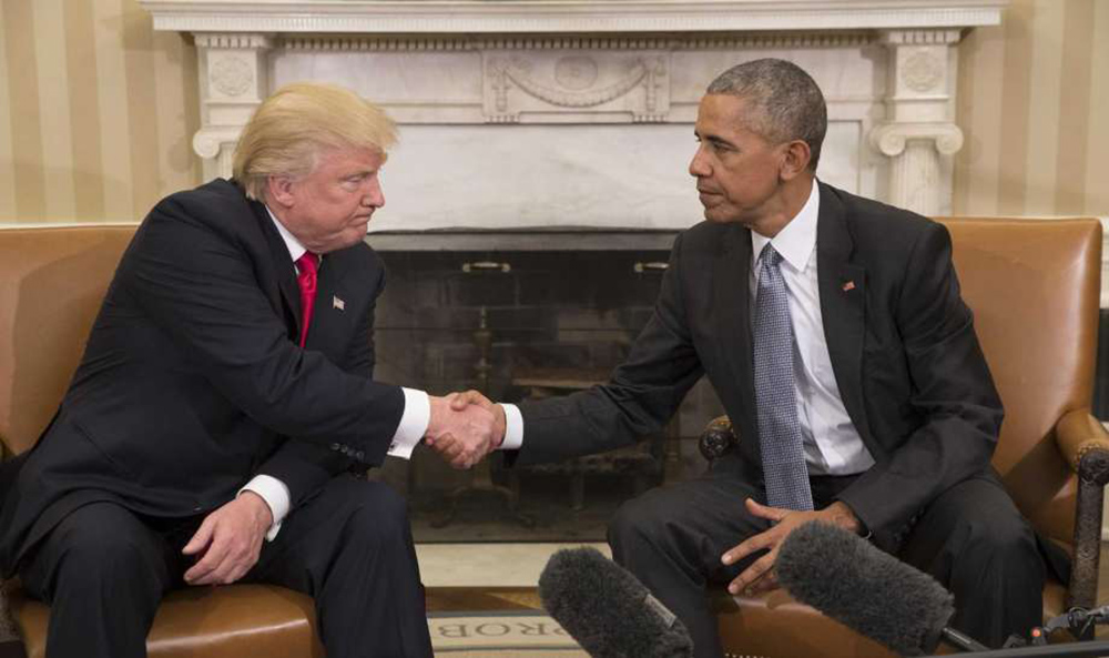 President-elect Donald Trump shakes hands with President Barack Obama at the White House. Photo courtesy of Stephen Crowley/The New York Times.