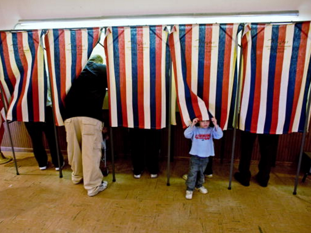 A voting booth in Wisconsin. Image courtesy of Getty/Darren Hauck.